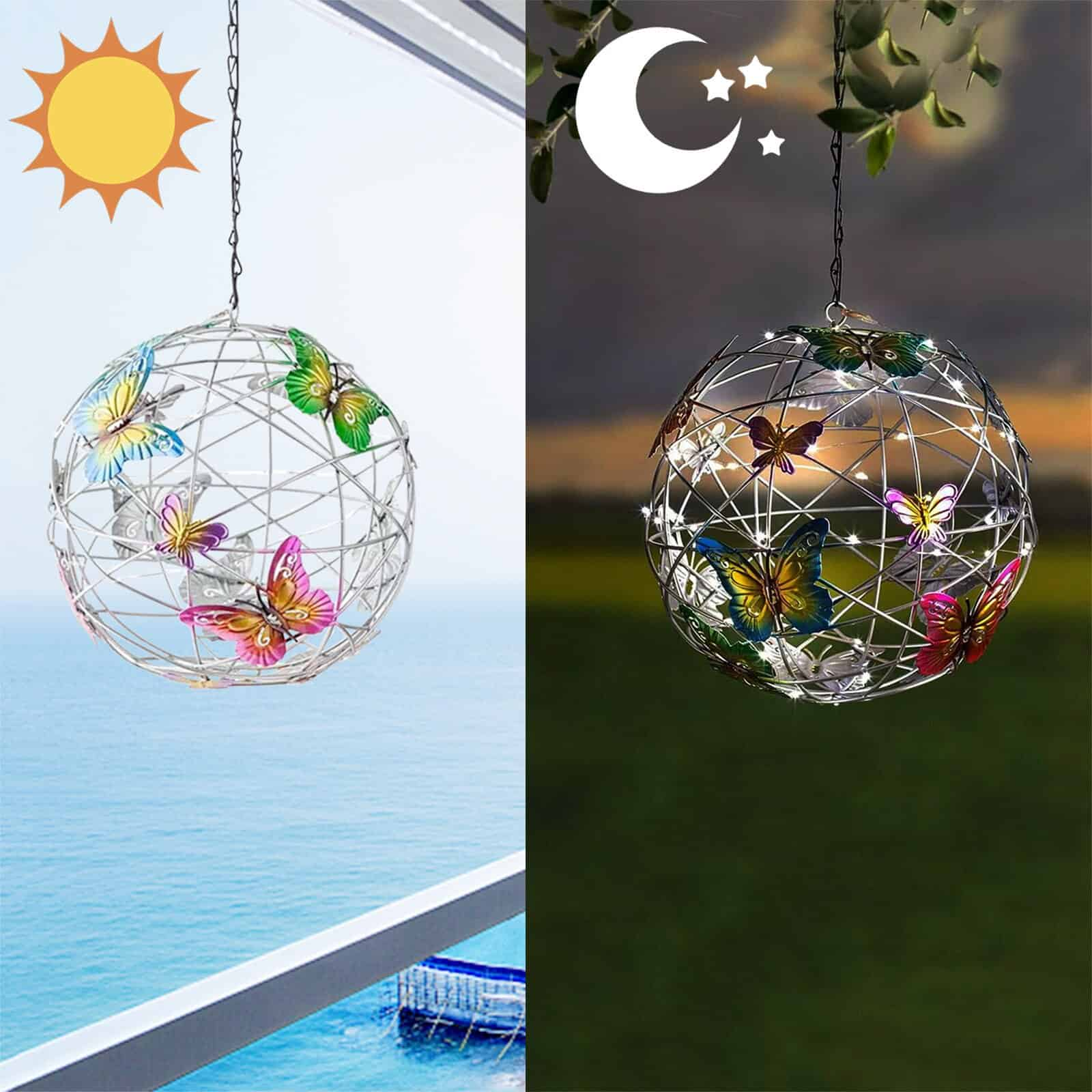 Solar Lighted Hanging Mesh Orb